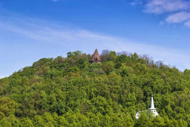 Zamek Grodziec wyrasta w środku gęstego lasu, na wygasłym wulkanie