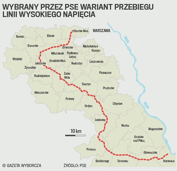 PSE zdecydowały o przebiegu linii Kozienice - Ołtarzew