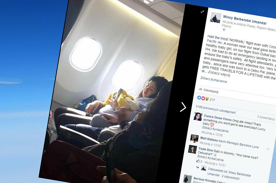 Kobieta urodziła w samolocie