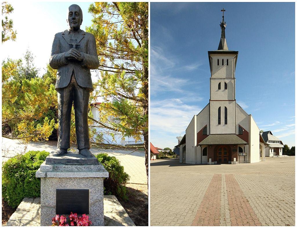 Pomnik Kazimierza Domańskiego i kościół, który zbudował (fot. Wojciech Mazan)