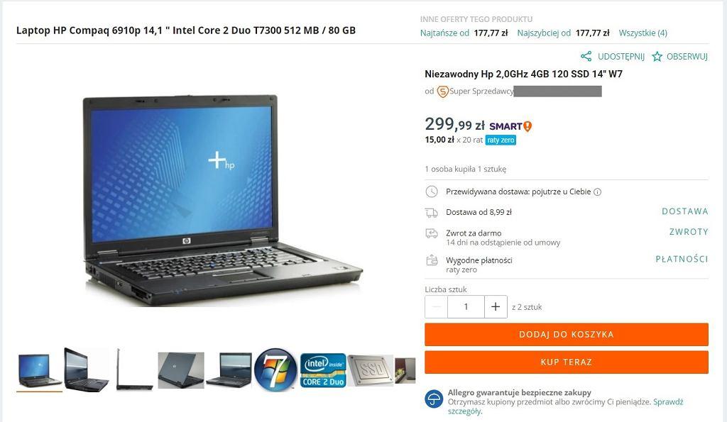 Laptop do 300 zł - przykład 3