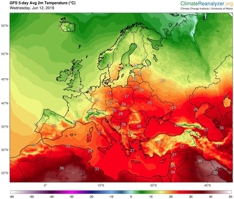 12.06.2019. Prognoza średniej dobowej temperatury w Europie w ciągu najbliższych 5 dni