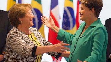 Prezydent Chile Michelle Bachelet (z lewej) i prezydent Brazylii Dilma Rousseff podczas spotkania w Planalto Palace w Brasilii, 12 czerwca 2014 r.