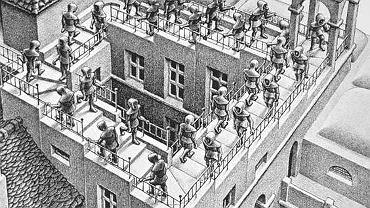 Litografia Mauritsa Cornelisa Eschera. Ten holenderski malarz i grafik słynął z rysowania paradoksalnych, niemożliwych, sprzecznych z doświadczeniem form przestrzennych