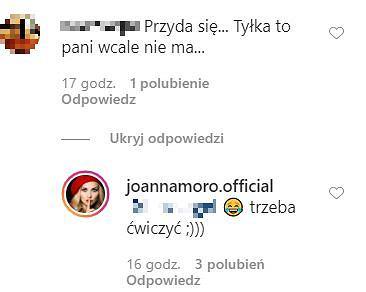 Joanna Moro odpowiada na komentarz