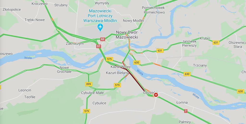 Dębina. Wypadek na trasie S7 w stronę Warszawy. Dwie osoby zostały ranne