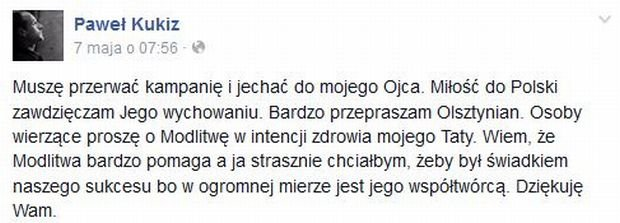 Wpis na profilu Pawła Kukiza