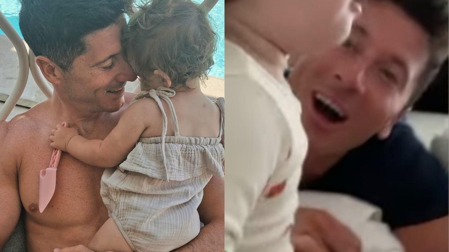 Dumna Anna Lewandowska pokazała, jak Laura rozdaje pocałunki jej i Robertowi. Widać twarz dziewczynki. Jest też ujęcie z Klarą
