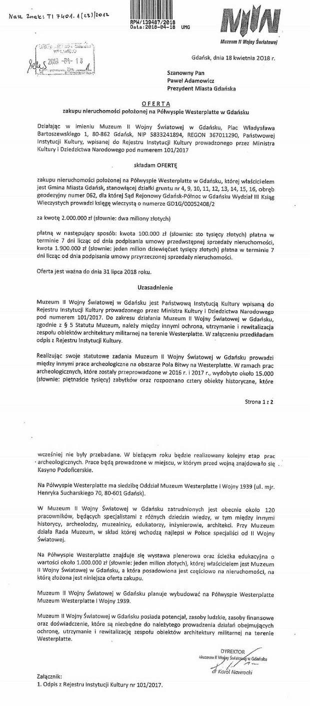 Oferta odkupienia Westerplatte od Gdańska