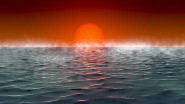Powierzchnia przykładowej planety Hycean - wizja artysty