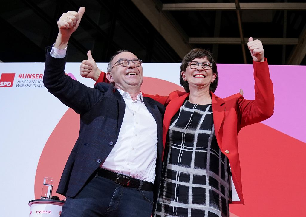 Norbert Walter-Borjans and Saskia Esken/Fot. Kay Nietfeld/dpa via AP
