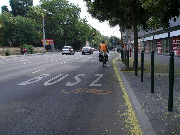 Buspas z dopuszczonym ruchem rowerów w Budapeszcie /fot. Rafał Muszczynko