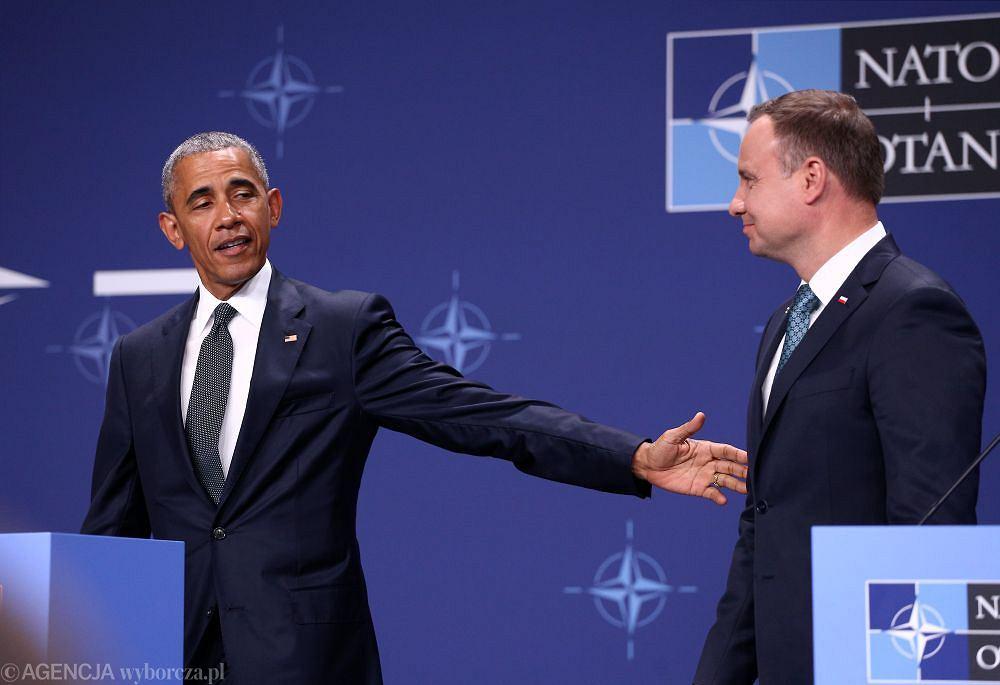 Andrzej Duda i Barack Obama podczas szczytu NATO