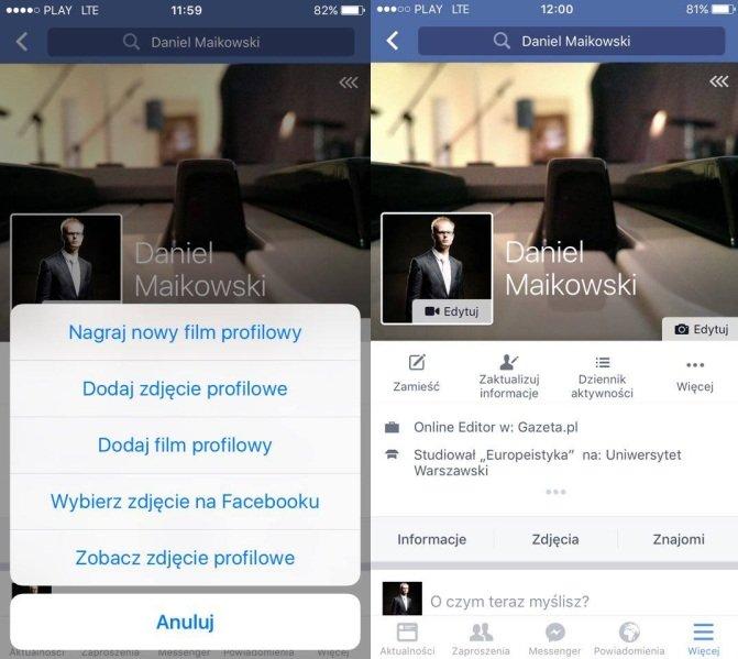 Film profilowy zamiast zdjęcia na Facebooku