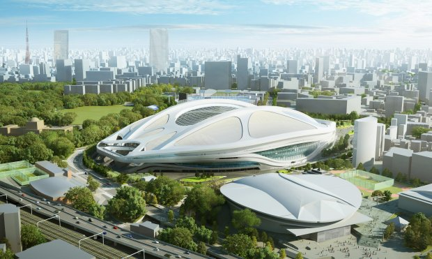 This artist's rendering released by Japan Sport Council in July 2015 shows the image of the Olympic stadium planned for the 2020 Tokyo Games. The Olympic stadium will be redone because of spiraling costs, Japan Prime Minister Shinzo Abe said on Friday, July 17, 2015 in a major reversal. (Japan Sport Council via AP)
