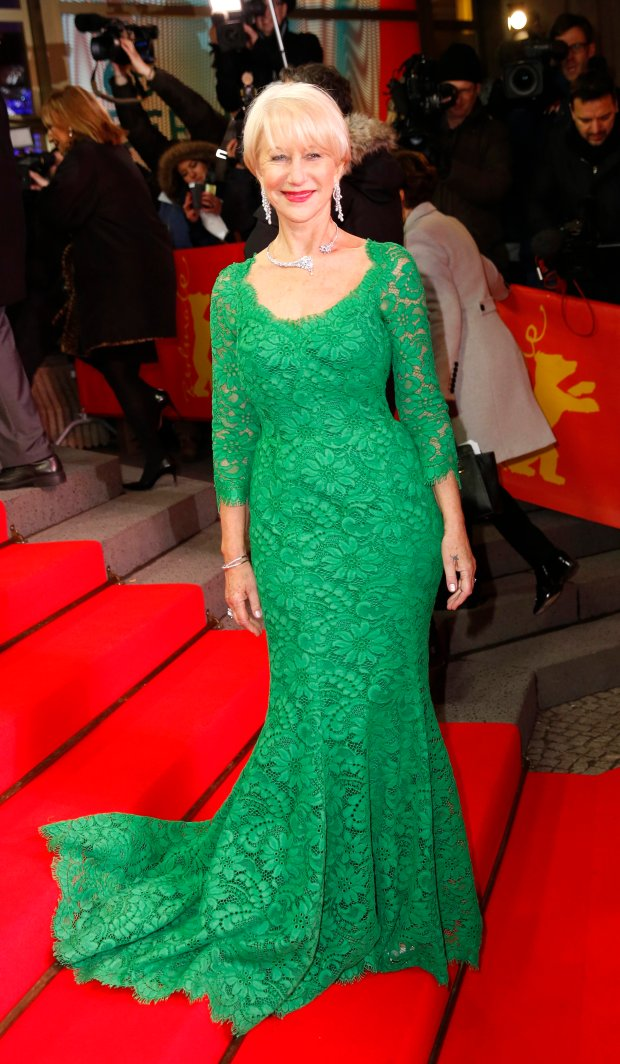 Actress Dame Helen Mirren poses for photographers on the red carpet for the film Woman in Gold at the 2015 Berlinale Film Festival in Berlin, Monday,Feb. 9, 2015. (AP Photo/Axel Schmidt)