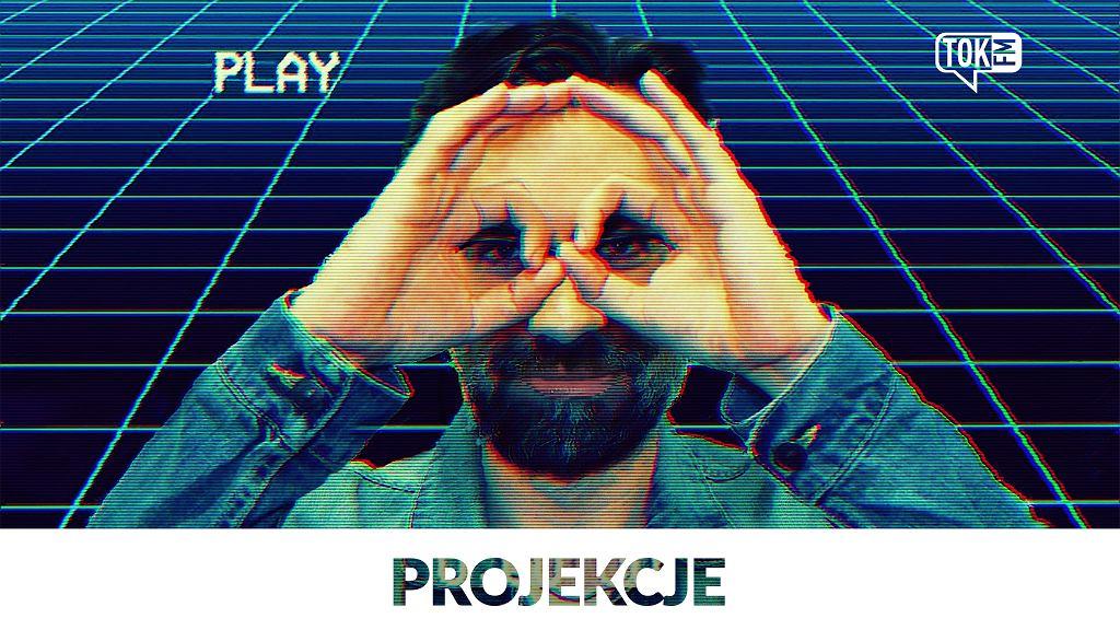 Okładka podcastu tokfm.pl 'Projekcje', na zdjęciu autor, Piotr Kubica