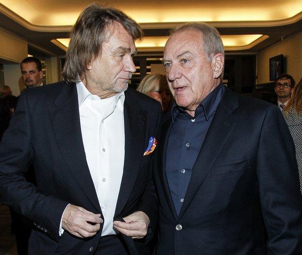 Jan Kulczyk i Zbigniew Niemczycki na premierze 'Efektu Domina'