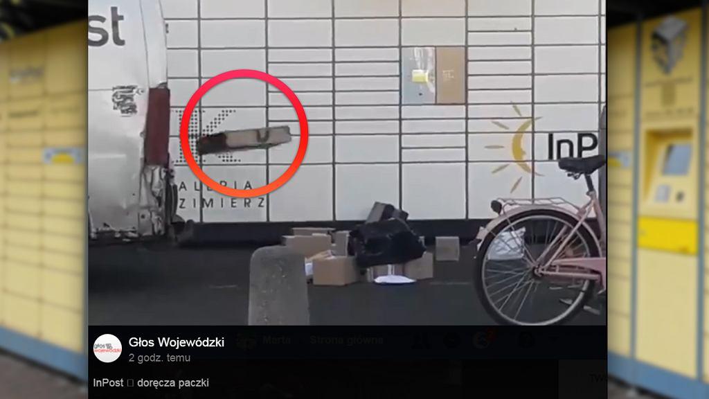 Kadr z nagrania, na którym widać, jak kurier firmy InPost rzuca paczkami