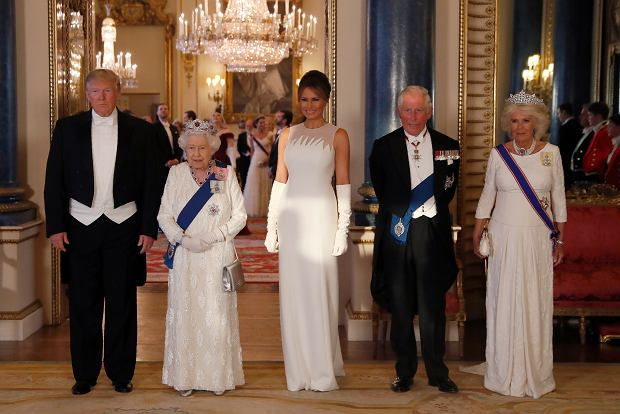 From left, US President Donald Trump, Britain