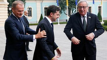 8.07.2019, Kijów, szczyt Unia Europejska - Ukraina, na zdjęciu: Donald Tusk, Wołodymyr Zełenski i Jean-Claude Juncker.