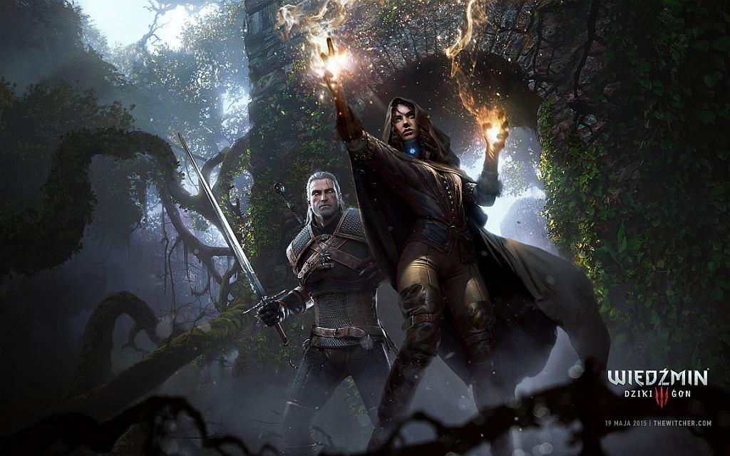 Wiedźmin Geralt i czarodziejka Yennefer podczas walki - kadr z gry 'Wiedźmin: Dziki Gon' (fot. CDP.pl)