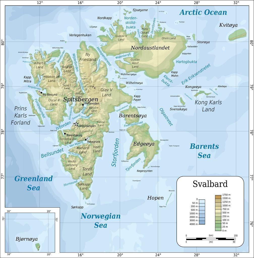 Mapa topograficzna Svalbardu