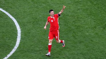 Robert Lewandowski podczas meczu Polska - Szwecja na Euro 2021. St. Petersburg, Rosja, 23 czerwca 2021