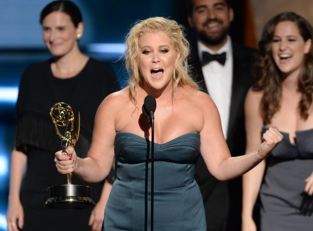 IMAGE DISTRIBUTED FOR THE TELEVISION ACADEMY - Amy Schumer accepts the award for outstanding variety sketch series for