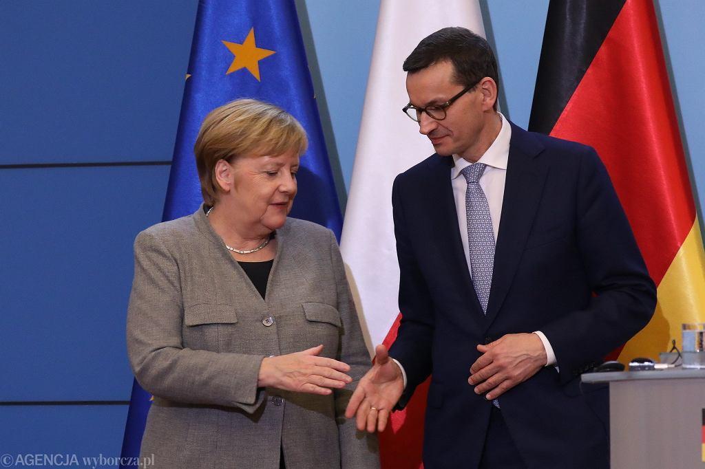 Kanclerz Angela Merkel i premier Mateusz Morawiecki w Kancelarii Prezesa Rady Ministrów, 2.11.2018