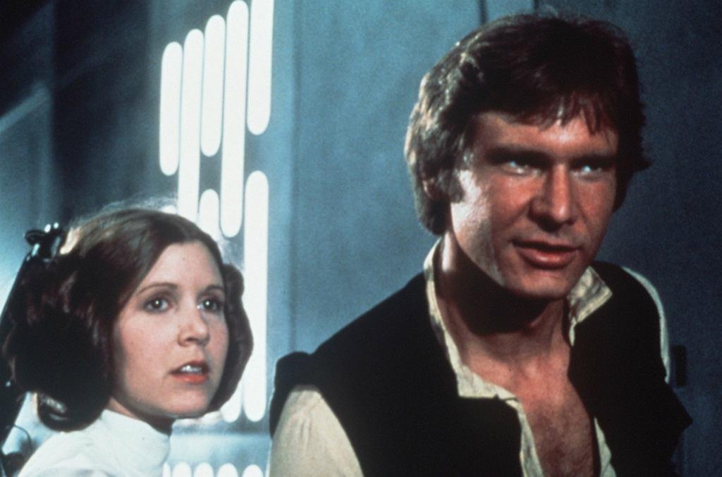 Carrie Fisher i Harrison Ford w 'Gwiezdnych Wojnach'