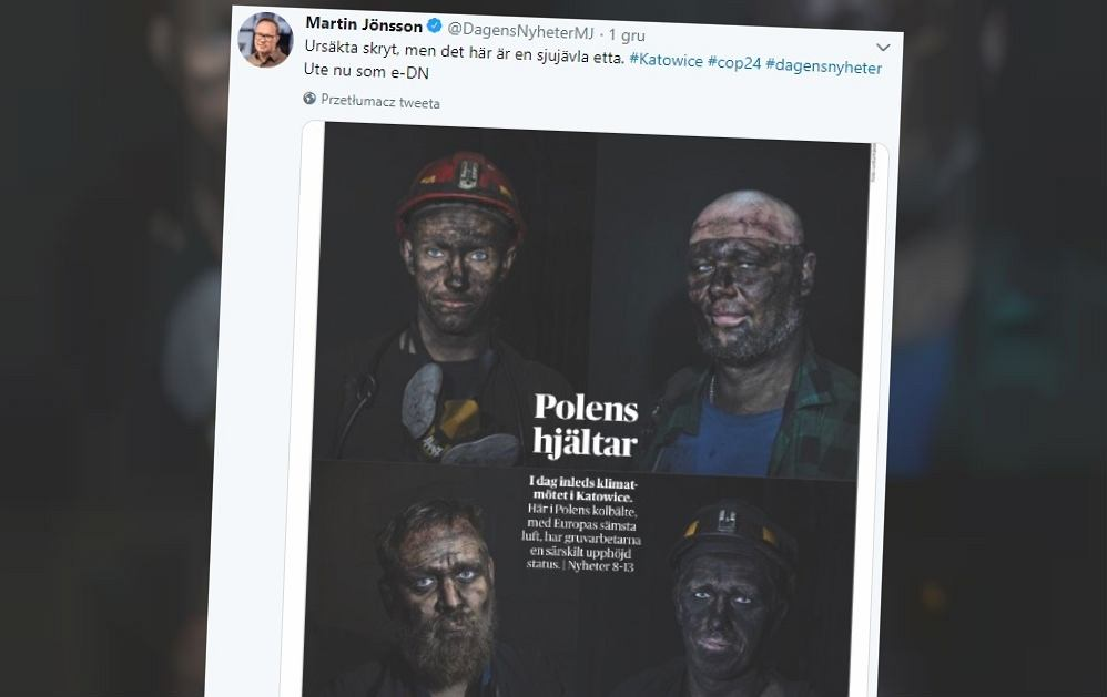 Artykuł o COP24 w szwedzkiej gazecie