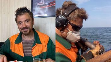 Daniel Martyniuk pracuje na statku.