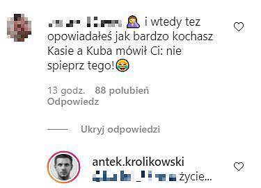 Anek Królikowski odpowiada na komentarz
