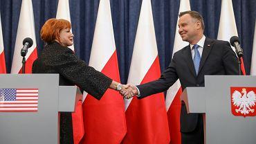 Andrzej Duda i Georgette Mosbacher na konferencji (fot. Kancelaria Prezydenta RP)