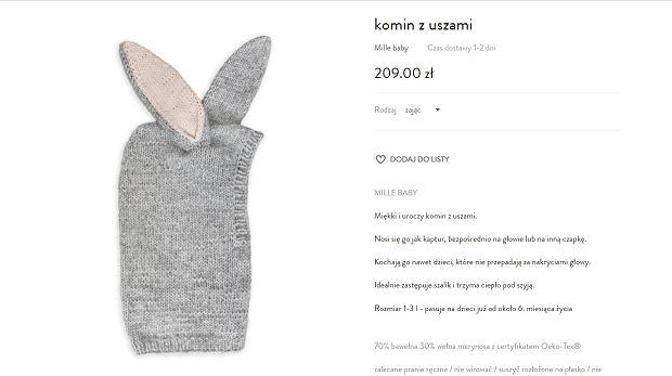 Komina z uszami marki Mille baby, który Kasia Tusk wybrała dla córki