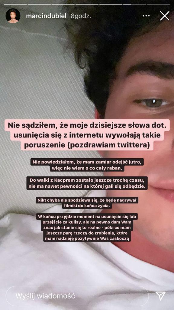 Marcin Dubiel o swoim odejściu z internetu