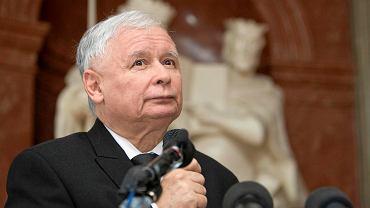 Prezes PiS Jarosław Kaczyński w poznańskim Pałacu Działyńskich