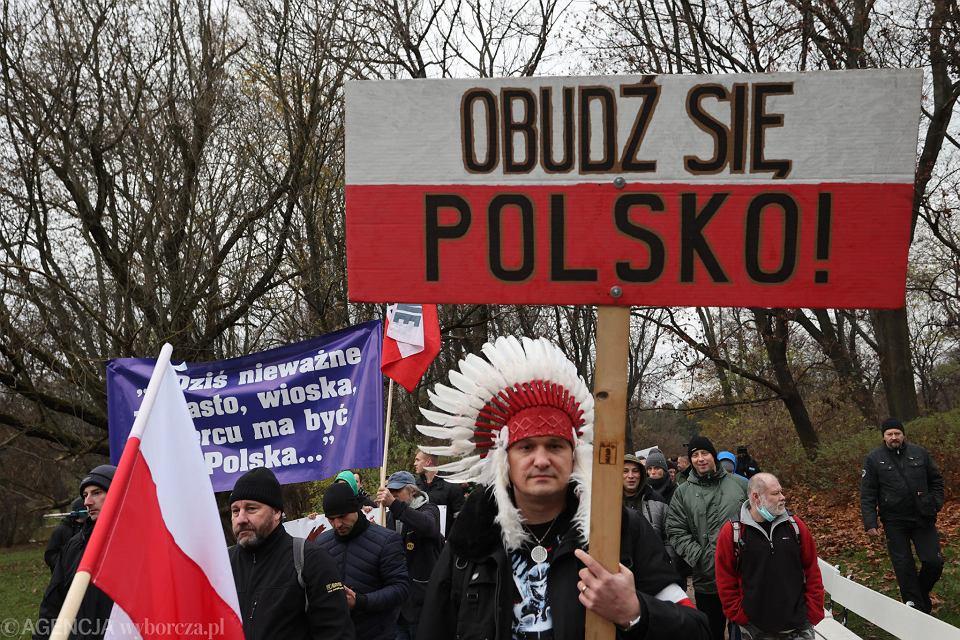 'Pandemicy' - marsz 'antyszczepionkowców'. Warszawa, 21 listopada 2020