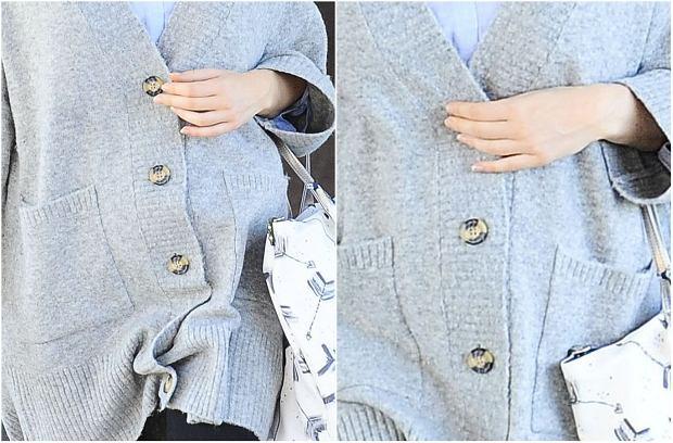 Zdjęcie numer 6 w galerii - Marta Żmuda Trzebiatowska tydzień po porodzie na wizycie kontrolnej z dzieckiem. Strój? Luźny sweter i legginsy