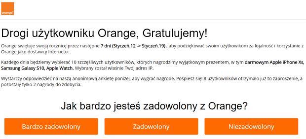 Fragment strony z loterią podszywającą się pod Orange