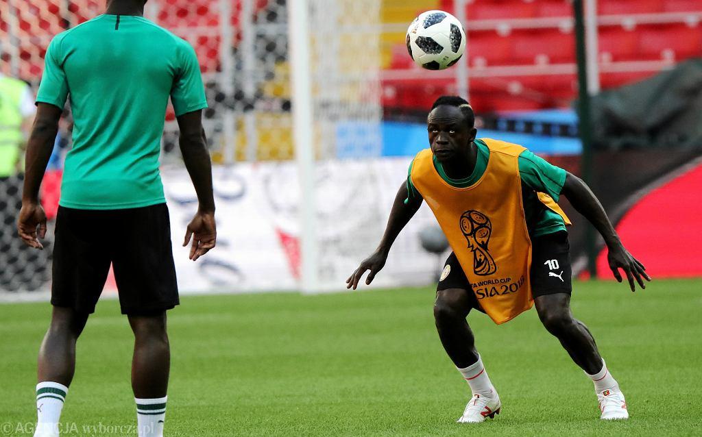 Sadio Mane podczas treningu przed meczem Polska - Senegal.