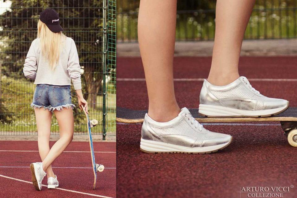 Srebrne sneakersy ażurowe