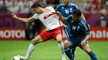 Robert Lewandowski w meczu Polska-Grecja