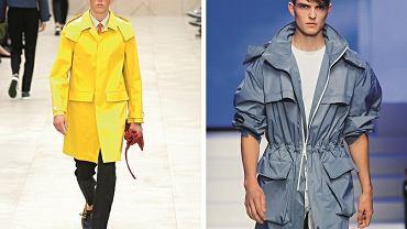 Letnie płaszcze przeciwdeszczowe wracają do męskich kolekcji. Od lewej: propozycje Burberry i Salvadore Ferragamo