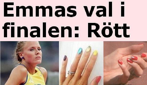 Emma Green i jej 'tęczowe' oraz czerwone paznokcie.