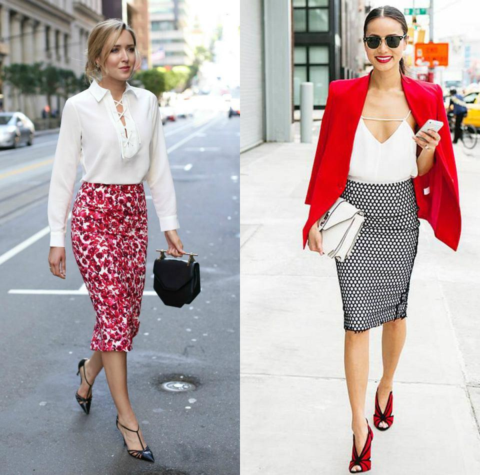 ołówkowa spódnica w modnym zestawieniu z białą bluzkę i marynarką