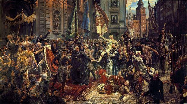 'Konstytucja 3 maja' Jana Matejki. Stanisław August z lewej, w czerwonym płaszczu