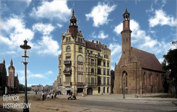 Zdjęcie numer 18 w galerii - Zdjęcia przedwojennego i powojennego Gdańska w kolorze. Zieleń drzew i czerwone cegły Bazyliki Mariackiej