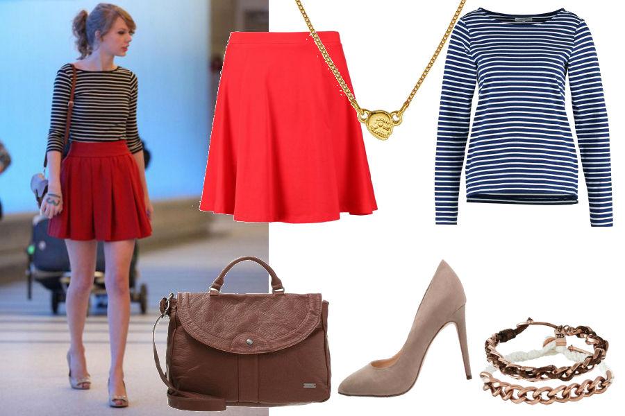 plotek.pl, Taylor Swift, czerwona spódniczka mini, bluzka w paski, szpilki nude